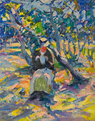 August Gay (American, 1890-1948) Woman in the garden, circa 1923 20 1/4 x 16 1/4in