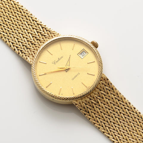 A 14k gold bracelet wristwatch with date, Croton