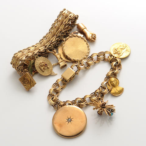Two 14k gold charm bracelets