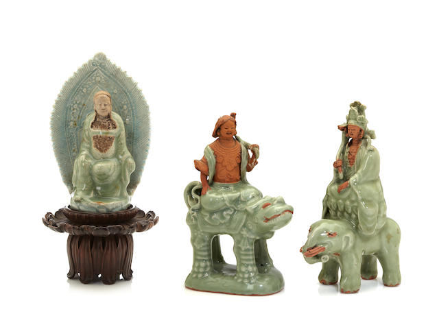 Three Longquan celadon and biscuit Buddhist figures Ming dynasty