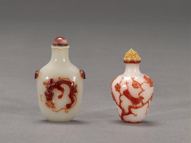 Two red overlay glass snuff bottles 1860-1940