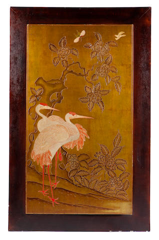 A French Art Deco lacquered panel with cranes circa 1925