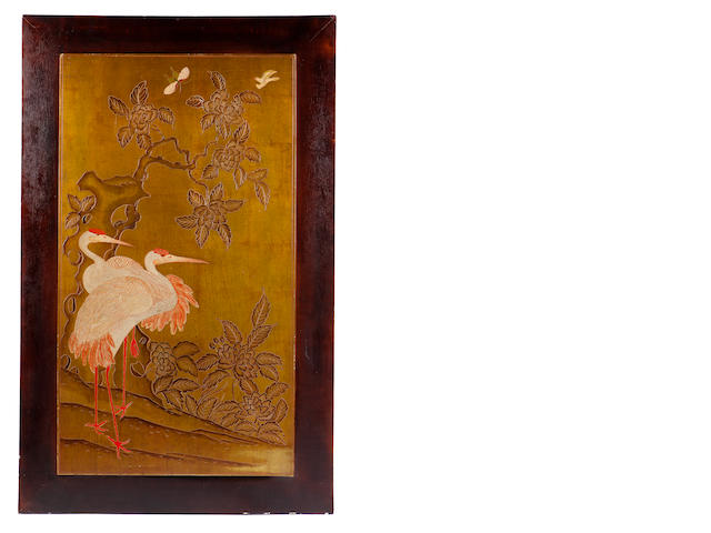 A French Art Deco lacquered panel with cranes French, circa 1925
