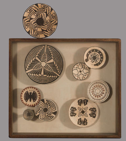 Nine Pima miniature baskets