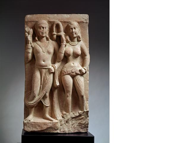 A red sandstone relief panel of Mithuna (Loving Couple) North India, 2nd century A.D.