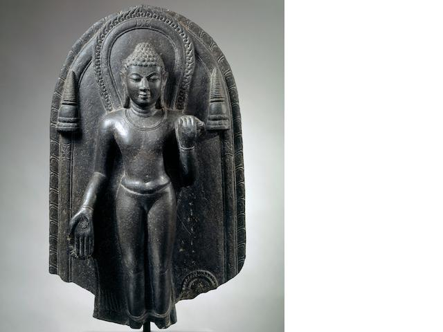 A black stone stele of Buddha Northeast India, Pala period, circa 10th century