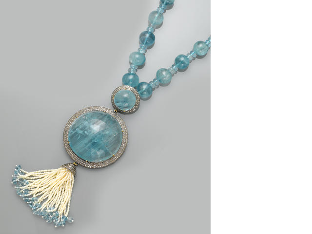 Aquamarine, Diamond and Seed Pearl Sautoir Necklace