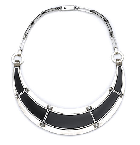 A Jean Despres gold, silver and black onyx collar necklace Paris, circa 1939