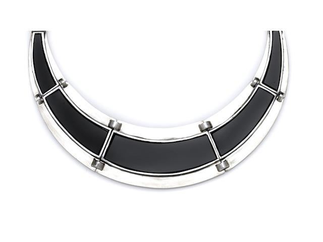 A Jean Despres gold, silver and black onyx collar necklace Paris, circa 1939