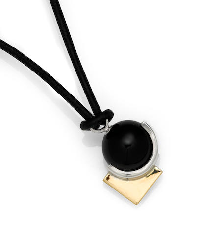 A Jean Despres  gold, silver and black onyx  pendant necklace Paris, circa 1935