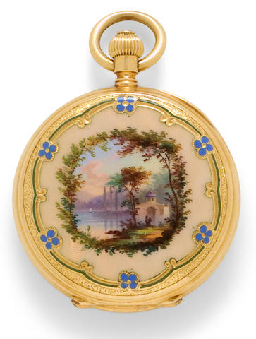 Edouard Koehn, Geneva. A very fine enameled 18K gold hunter cased fob watchNo. 70867, 1890's