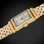 Vacheron & Constantin. A rare 18K rose and yellow gold Art Deco rectangular wristwatch with 14K rose and yellow gold bracelet en suiteCase No.262412, Movement No.420129, circa 1930 – 1935