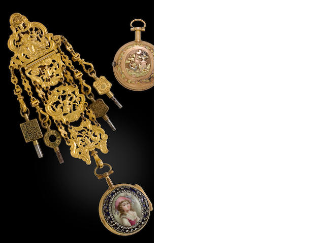 Pierre Rigaud à Genève. A gilt metal and enamel pair case verge watch set with brilliants and a gilt metal chatelaineNo. 58101, third quarter 18th century
