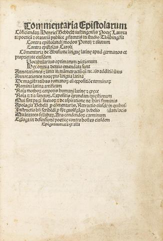 BEBEL, HEINRICH. 1472-1518. Commentaria epistolarum conficiendarum. Strasbourg: Johann Grüninger, 28 February, 1506.