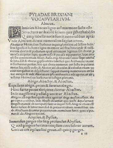 PILADE, GIOVANNI FRANCESCO BOCCARDO. d.1505. Vocabularium Pyladae. [Venice: Joannes Rubeus Vercellensis, 1508].<BR />