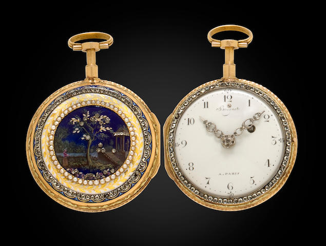 A very fine enameled varicolored gold and gem set verge watch quarter repeating on a bell or à toc Bearing signature Breguet A PARIS, No. 51, circa 1790