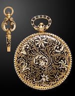 Ch. Friderich, [Geneva] An enameled gold open face cylinder watch and keyCirca 1820