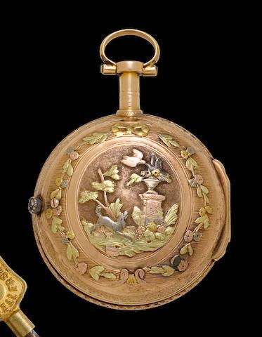 Lépine à Paris. A vari colored gold verge watchCirca 1775
