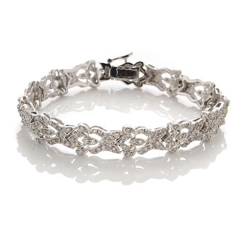 A diamond and 18k white gold bracelet