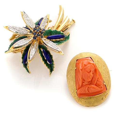 A group of two coral, enamel, sapphire, diamond and bicolor 18k gold brooches