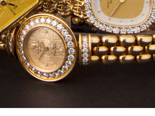 Rolex. An 18K gold and diamond lady's bracelet watchCellini, Ref:2297, Case no. R322936, sold in 1987