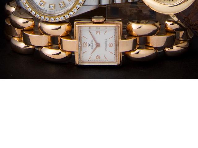 Rolex. An 18K Retro Modern rose gold lady's bracelet watchRef:3712, Case no. 53124, 1940s