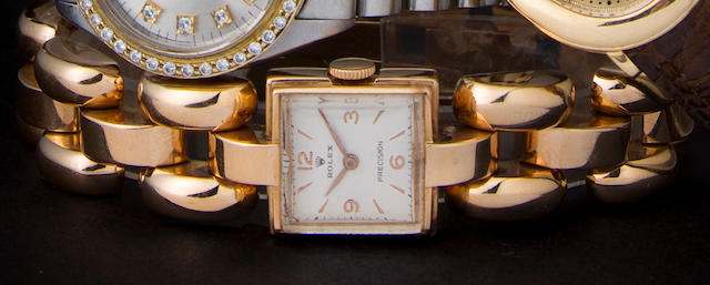 Rolex. An 18K Retro Modern rose gold lady's bracelet watchRef:3712, Case no. 53124, 1940s