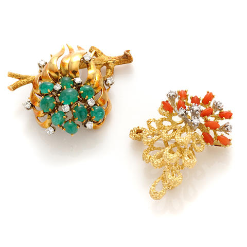 A group of two gem-set, diamond and 18k gold brooches