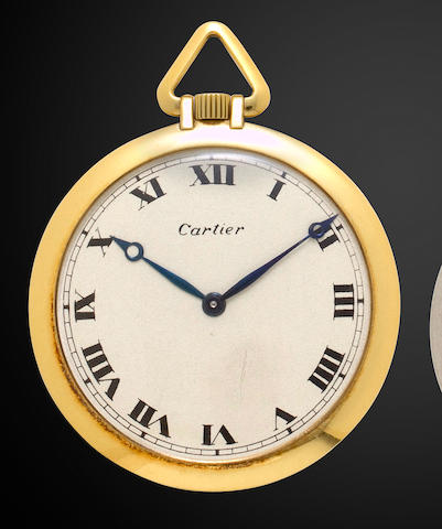 Cartier. An 18K gold open face dress watchSigned E. W. and C. Co. Inc., France, Ref:70059 1178, Case no. 8877