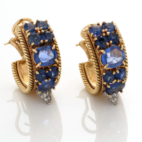 A pair of sapphire, diamond and 14k gold hoop earrings
