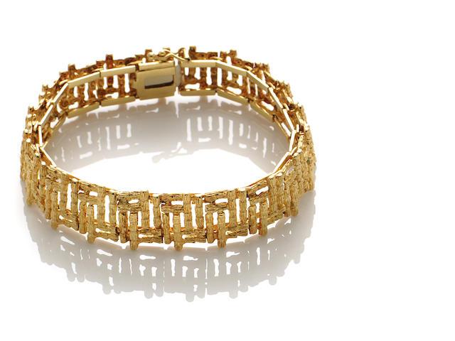 """An 18k gold """"bamboo"""" bracelet"""