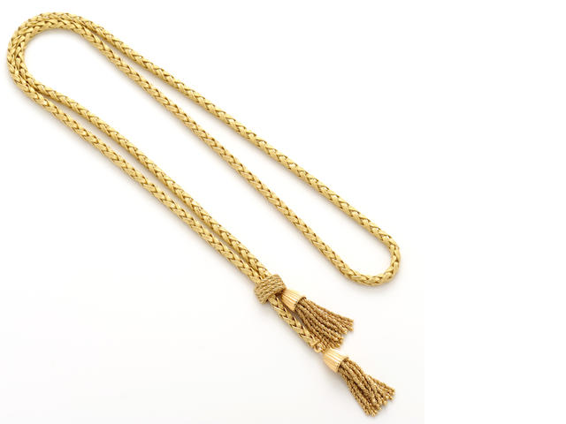 An 18k gold tassel braid necklace
