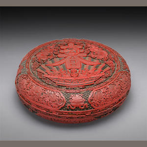 A polychrome lacquer circular covered box 18th century