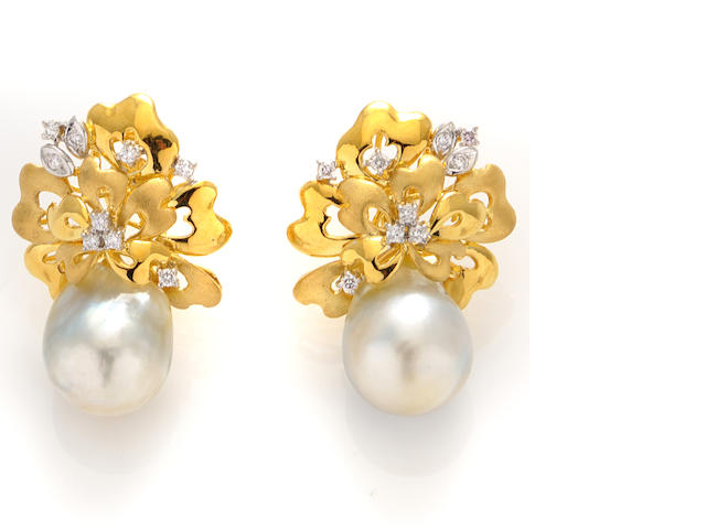 A pair of diamond, South Sea cultured pearls and 18k gold earclips