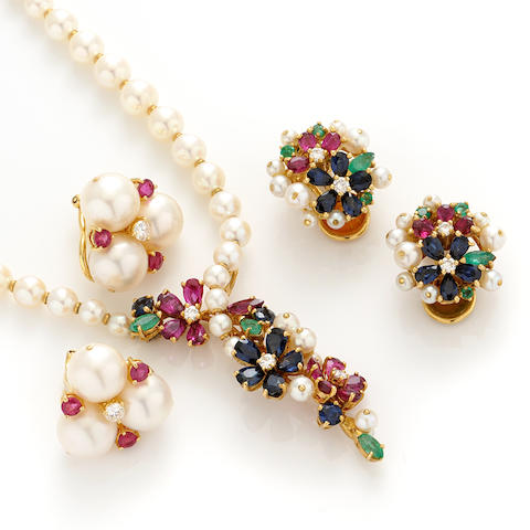 A group of gem-set, cultured pearl, diamond and gold jewelry