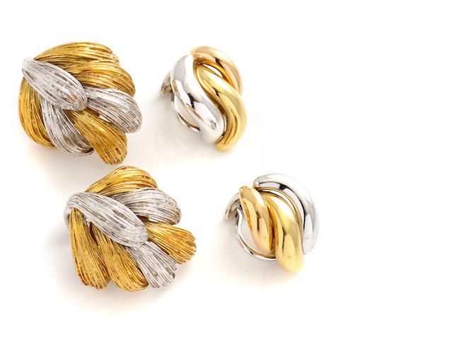 Two pairs of 18k bicolor gold earclips