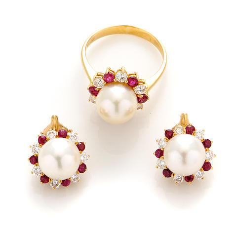 A collection of cultured pearl, ruby, diamond and gold jewelry