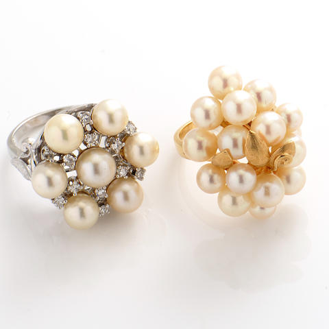 A group of two cultured pearl, diamond and 14k gold rings