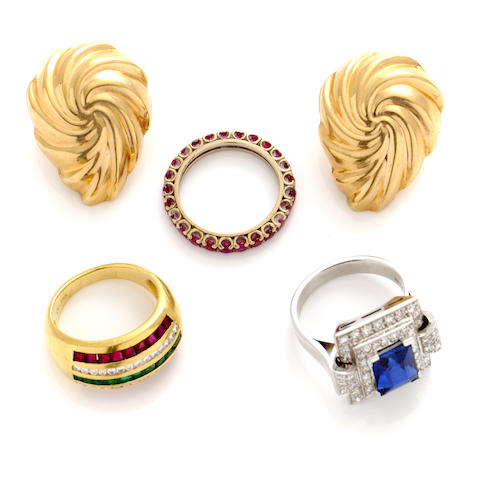 A group of gem-set, synthetic blue stone, diamond and gold jewelry