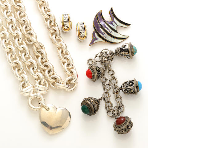 A group of silver, cultured pearl and costume jewelry