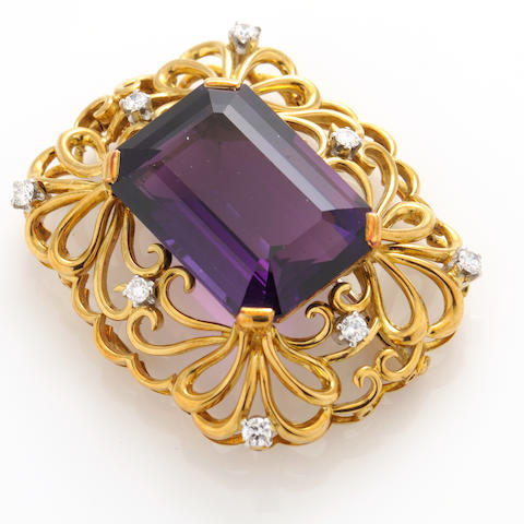 An amethyst, diamond and gold brooch-pendant