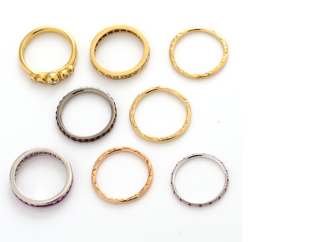 A group of eight diamond, gem-set and gold rings