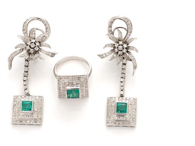 An emerald and diamond pendant earring and ring set
