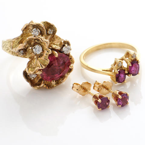A collection of rubellite tourmaline, red stone, diamond and gold jewelry