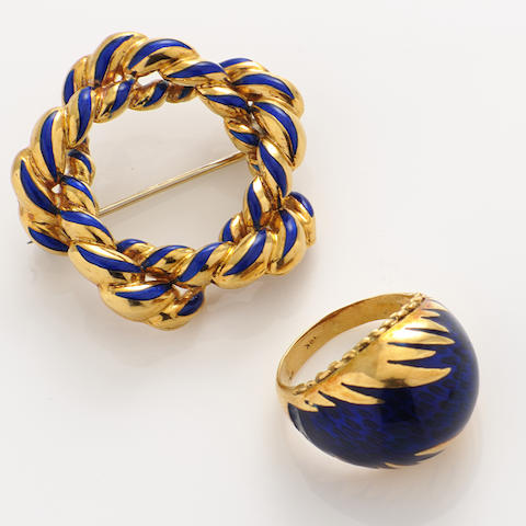 An enamel and gold brooch and ring