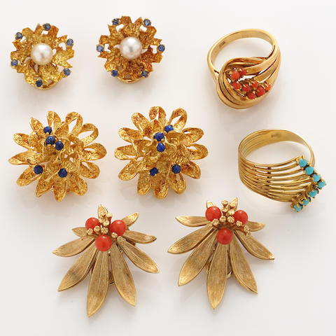 A collection of gem-set and gold jewelry