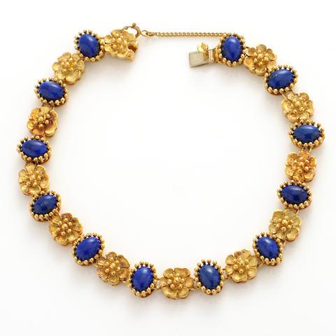 A lapis lazuli and 18k gold link bracelet,