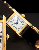 Cartier. A miniature 18K gold tank wristwatchCase No.031558, movement signed LeCoultre