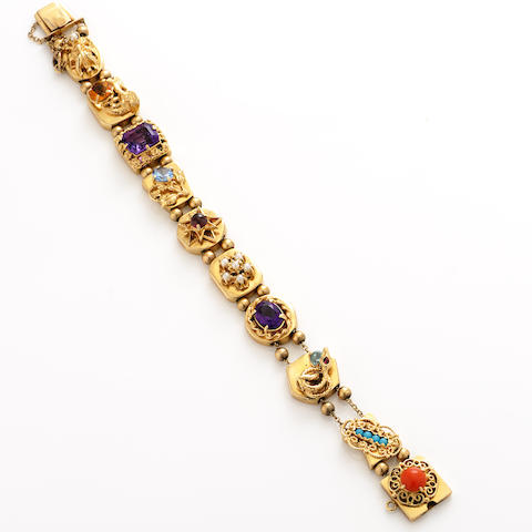 A gem-set and 14k gold slide bracelet
