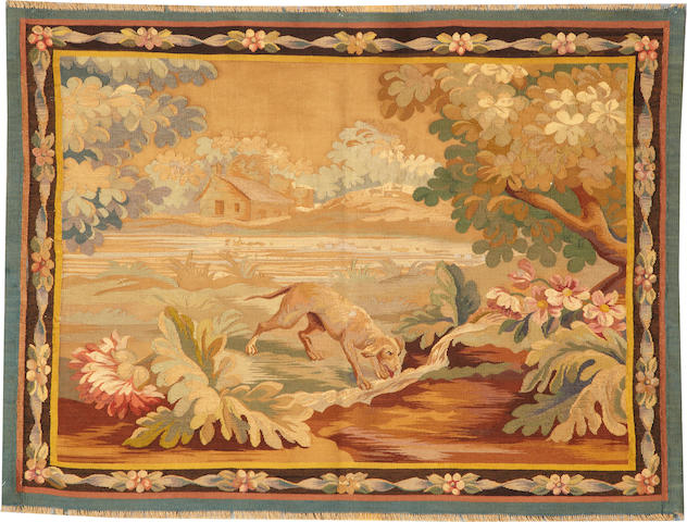 A European tapestry late 19th century size approximately 2ft. 10in. x 3ft. 7in.